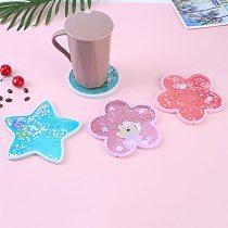 Cute Coasters Rabbit Romantic Cherry Blossom Season Ocean Quicksand Silicone Water Cup Mug Placemat Cushion Insulation Hot Pad