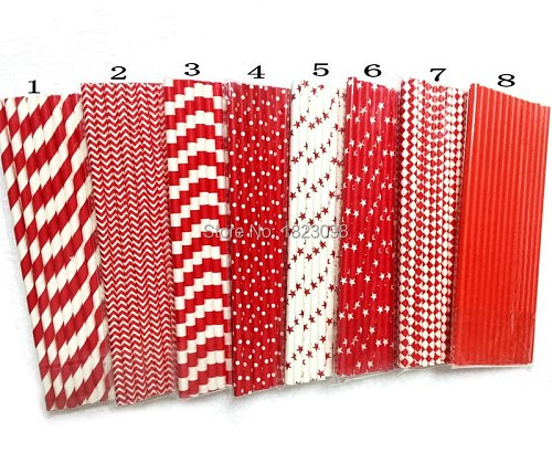 25pcs/lot Red Paper Straws For Kids Birthday Wedding Decorative Party Straws Event BabyShower Supplies