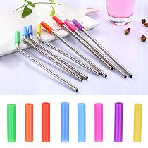 Straw Silicone Sleeve Metal Drinking Straws Cover Reusable Teeth Protector Cup Accessories Drinking Bar Party Supplies