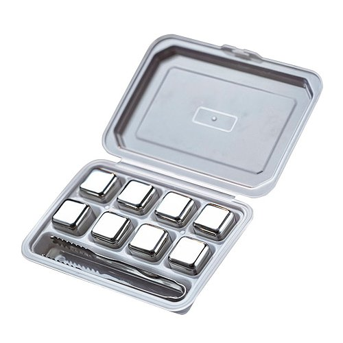 Whisky Stones Ice Cubes Set Reusable Food Grade Stainless Steel Wine Cooling Cube Chilling Rock Party Bar Tool With Clip