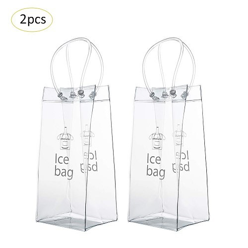 2pcs Pvc Leak Proof Ice Bag Environmentally Friendly Transparent Ice Pack Portable Ice Bucket Wine Champagne Bottle Chiller With