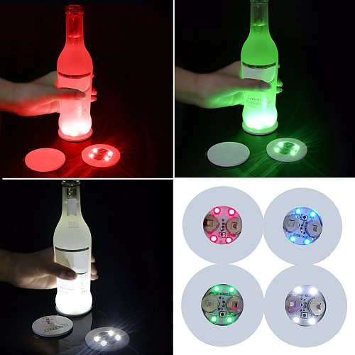 Mini Flat LED Coasters Nightclub 3 Modes 6 Colors Changing Battery Powered For Drinks Ads Bar Wedding Party Wine Bottle Decor
