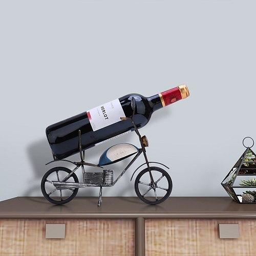 Retro Motorcycle Wine Rack Tabletop Art Decoration Creative Wine Rack Sturdy IronHandmade Craft Storage Rack Home Decor