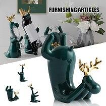 Wine Rack Statue Elk Bottle Holder Stand Simple and Creatives Ceramics Craft for Home Living Room Bar C1