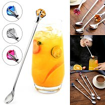 Stainless Steel Mixing Cocktail Spoon With Rhinestone Long Handled For Drink Coffee Swizzle Mixing Stirring Barware Drink Tool