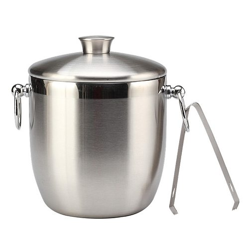 Stainless Steel Ice Bucket with Tongs Liter Double Walled Insulated with Tongs and Lid Ice Container(3L)