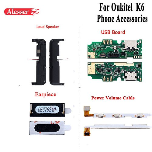 Alesser For Oukitel K6 Loud Speaker USB Plug Charge Board For Oukitel K6 Earpiece Power Volume Cable Mobile Phone Accessories