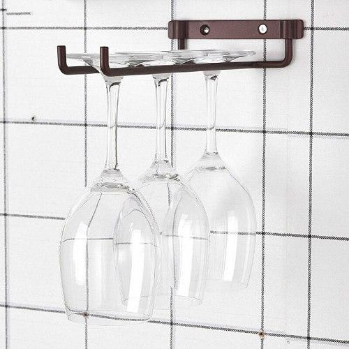 Single Row Simple Wall-Mounted Wine Glass Rack Hanging Glass Wine Rack Goblet Wine Cabinet Rack Wine Rack with Screws