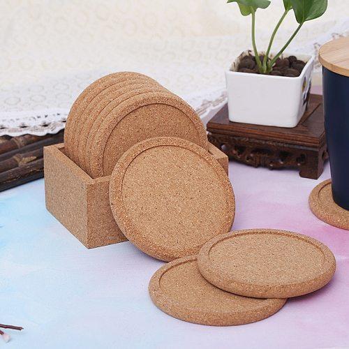 2Pcs Round Cork Coasters Set Coffee Cup Mat Drink Tea Pad Placemats Wine Table Mats Decor Heat Insulation Pot Holder Mats Desk