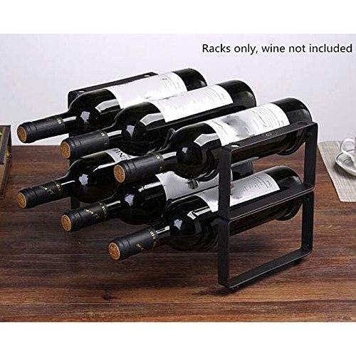 Stackable Wine Rack 2 Tier 6 Bottles Wine Storage Holder Wine Organizer Shelf for Countertop Cabinet Cellar