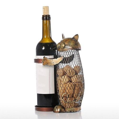 Kitchen Bar Wine Bottle Holder Cat Shaped Wine Holder Metal Craft Christmas New Year Gift Animal Wine Stander