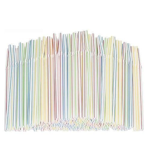 300pcs Plastic Drinking Straws 8 Inches Long Multi-Colored Striped Bedable Disposable Straws Party Multi Colored Rainbow Straw