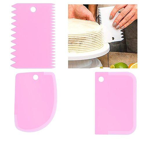 3Pcs/set Dough Cake Scraper Plastic Cake Model Blade Bread Making Slicer Spatula Cutters Scraper Kitchen Baking Pastry Spatulas
