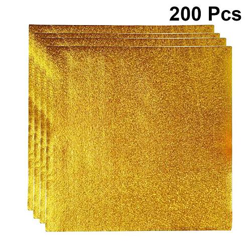 200pcs 8*8cm Gold Aluminium Foil  Candy Chocolate Cookie Wrapping Tin Paper Party DIY Metal Embossing Gift Packaging Craft Paper