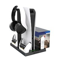 Stand for PS5 Cooling Stand for PlayStation 5 Console with Controller Charger, Headphone Stand, Game Disc Holder