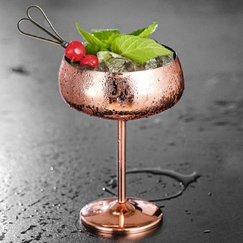 Quality 1Pcs Luxury 304 Stainless Steel Cocktail Glass Cocktail Juice Drink Champagne Goblet Party Barware Kitchen Tools Rose Go