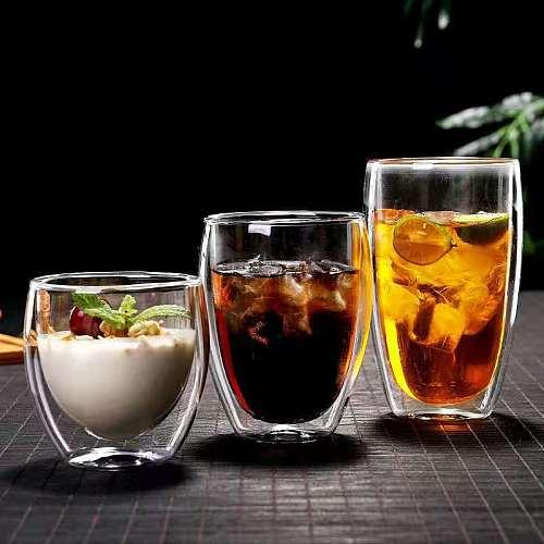 Cafe Coffee Mug Bodum Double Wall Glass Design Anti Scalding Heat Insulation Breakfast Milk Cup Tea Drinking Glasses Drinkware