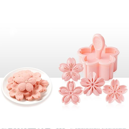 5pcs/set Sakura Cookie Mold Stamp Biscuit Mold Cutter Pink Cherry Blossom Mold Flower Charm DIY Floral Mold Fondant Baking Tool