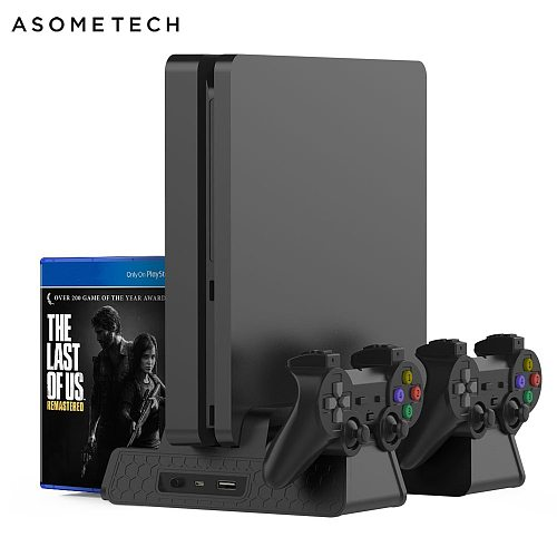 PS4/PS4 Slim/PS4 PRO Vertical Stand With Cooling Fan Cooler Dual Controller Charger Charging Station For SONY Playstation 4 Pro