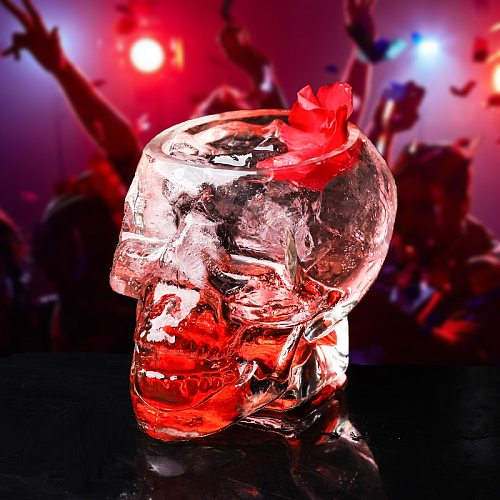 80ml Bones Armor Warrior Skull Designed Mini Transparent Gothic Skull Head Shot Glass Cup for Vodka Whiskey Cocktail Barware