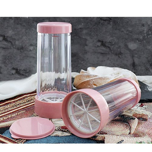 Plastic Icing Sugar Dispenser With Lid Chocolate Coffee Cocoa Powder Sugar Shaker With Stainless Steel Mesh Sifters