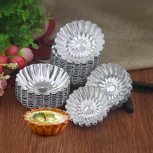 10Pcs Flower Cake Egg Tart Nonstick Ripple Mold Aluminium Alloy Reusable Cupcake Baking Mold DIY Wedding Baking Egg Tart Tools