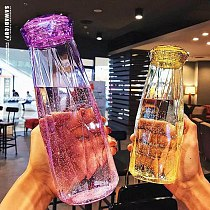 High Diamond Water Cup Glass Cup 401-500ml Lead-Free Heat Resistant Portable Drinking Water UEJ