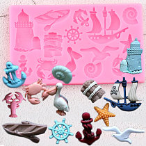 Sailboat Anchor Bird Silicone Mold Sea Animals Cupcake Topper Fondant Cake Decorating Tools DIY Baby Party Candy Chocolate Mould