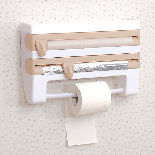 Kitchen Multi-Function Cutter Cling Film Cutter Tin Foil Oil Paper Cutter Multifunctional Storage Rack