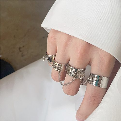 Kpop Punk Cool Egirl Multi-layer Adjustable Chain Four Fingers Open Silver Color Rotate Rings For Men Women Bff Party Jewelry