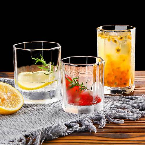 Transparent Octagonal Glass Cup Lead-free Milk Juice Tea Cup Home Coffee Mug Wine Bear Cocktail Glass Drinkware vasos de vidrio