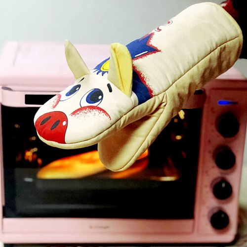 3D Cartoon Animal Oven Gloves Long Sleeve Cotton Mitts Microwave Heat Resistant Non-slip Gloves Baking Insulation Gloves