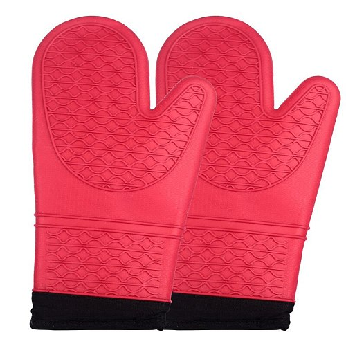 Bestselling 2pcs/1pc Red Silicone Kitchen Oven Mitt Glove Potholder with Extra Long Canvas Sleeve Stitching for Grilling and BBQ