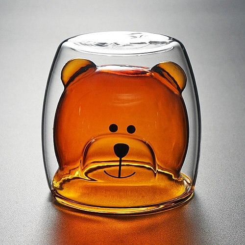 250ml Double Wall Transparent Heat-resistant Bear Shape Glass Milk Cup Tea Mug