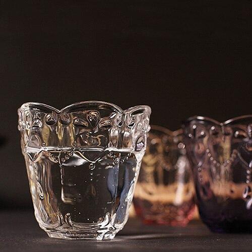 Retro Engraving Round Wine Glass Juice Whiskey Wiskey Goblet Breakfast Milk Glasses Zakka Style Pink Purple Glassware Heart