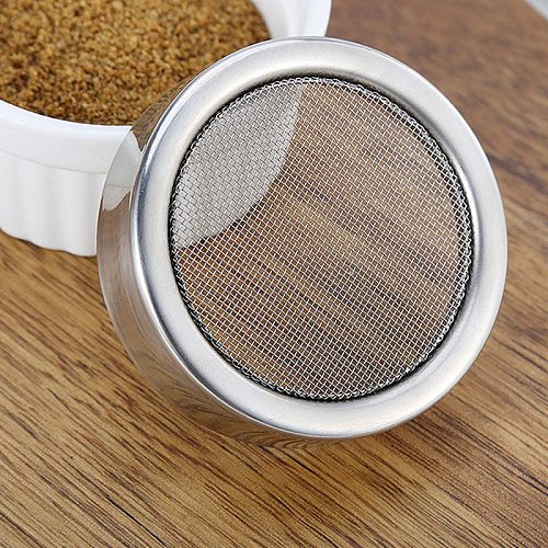 Chocolate Shaker Lid Stainless Steel Icing Sugar Flour Cocoa Powder Coffee Sifter Cooking Tool INTE99