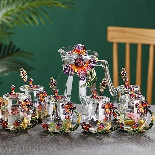 Creative Enamel Colored Water Mug with Flower Tea Mug Household Transparent Crystal Glass Lead-free Hot Tea Cup High-end Gift