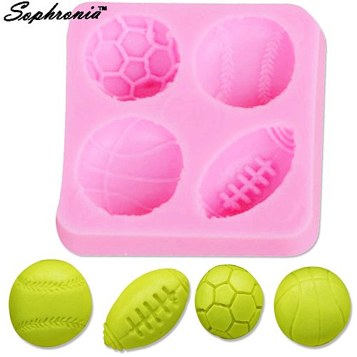 Sophronia Mini Football Basketball Half Soccer Rugby and Tennis Ball Shape DIY Silicone Mold Fondant Cake Decoration Mould M214