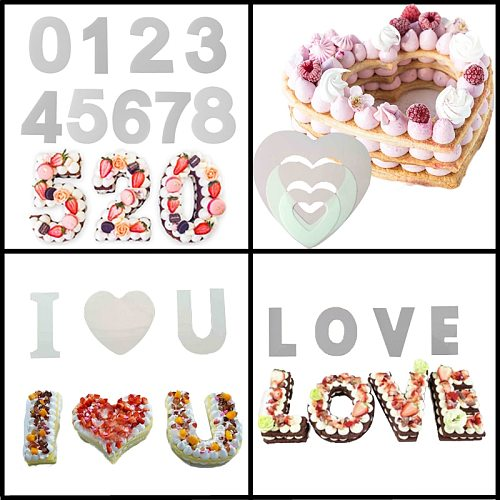Meibum Various PET Plastic Cake Mold LOVE Heart 0-8 Numbers Birthday Party Cream Mousse Dessert Mould Decorating Pastry Tools