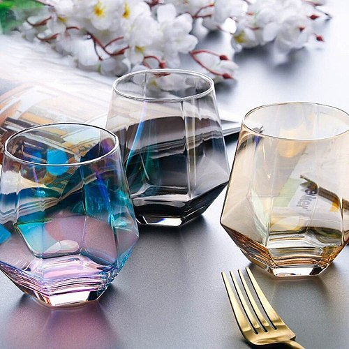 Whiskey Non-Slip Water Glass Cup For Coffee Milk Diamond Hexagonal Whiskey Cocktail Beer Glass Transparent Glass Cups