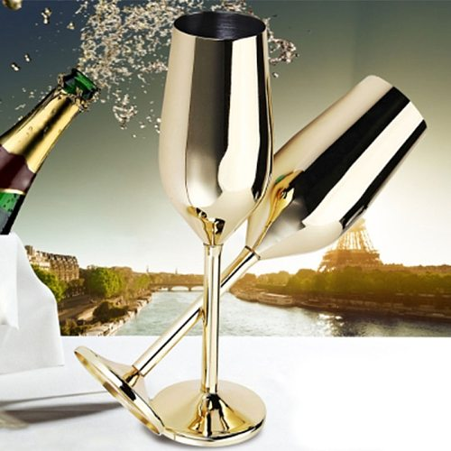 2Pcs/Set Shatterproof Stainless Champagne Glasses Brushed Gold Wedding Toasting Champagne Flutes Drink Cup Party Marriage Wine