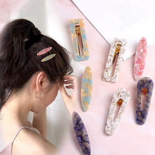 Gifts Girls Geometric Hair Clips 48 Colors Graceful Tin Foil Sequins Shiny Waterdrop Women Acrylic 1PC Hollow Korea