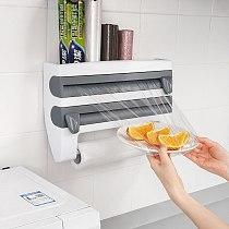 Kitchen Cling Film Tin Foil Paper Cutting Holder Shelf Kitchen Organizer Plastic Wrap Sauce Bottle Storage Rack  Foil Cutter