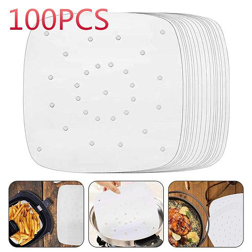 100 Sheets Air Fryer Square Baking Paper Silicone Oil Paper For Buncake Paper Saucer Non-stick Steaming Basket Mat Baking Tools