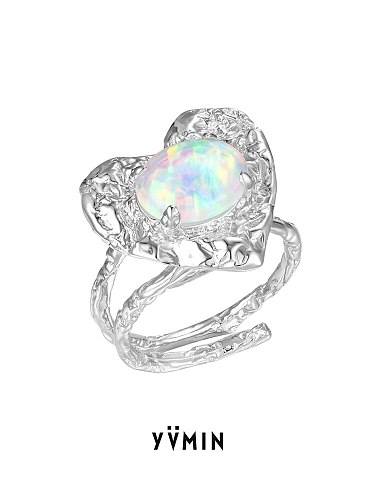 YVMIN YVMIN Sweet Food Series 2021 Spring and Summer New Opal Love Tin Foil Ring Heart-Shaped 925 Silver Ring