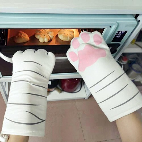 New3D Cartoon Animal Cat Paws Oven Mitts Long Sleeves Microwave Heat Resistant Nonslip Gloves Cotton Baking Insulation Gloves
