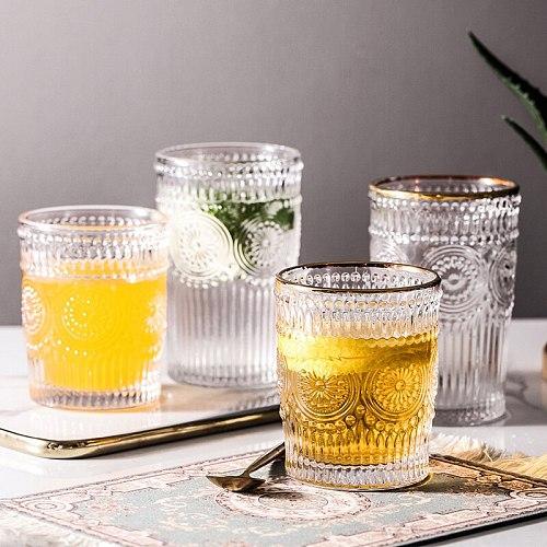 Retro Glass Water Cup Coffee Cup Wine Milk Whisky Tea Water Mugs Reusable Home Bar Accessorie Mug Lemon Juice Cup Drinkware Tea