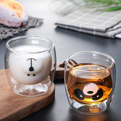 Creative Cute Bear Double-layer Coffee Mug Double Glass Cup Carton Animal Milk Glass Lady Cute Gift Christmas gift Dropshipping