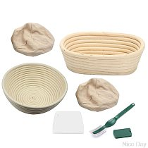 6Pcs Banneton Proofing Bread Basket With Removable Liner and Scraper for Baker Ju01 20 Dropship