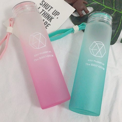 KPOP EXO Water Cup for Life Gradient Glass Bottle Frosted Drink XIUMIN DO Kai